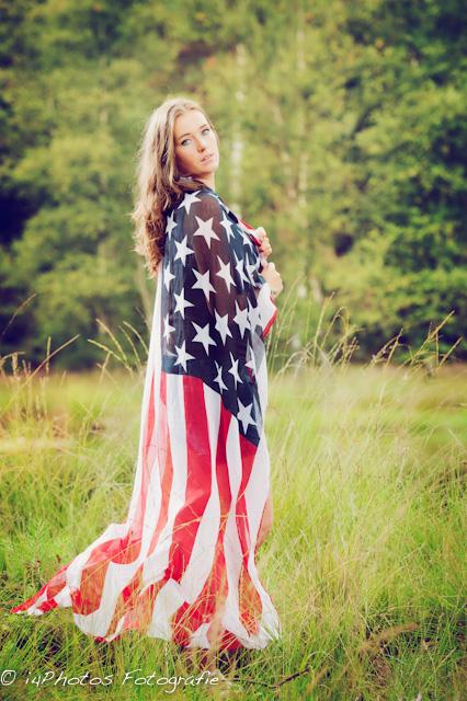 Veerle met USA vlag
