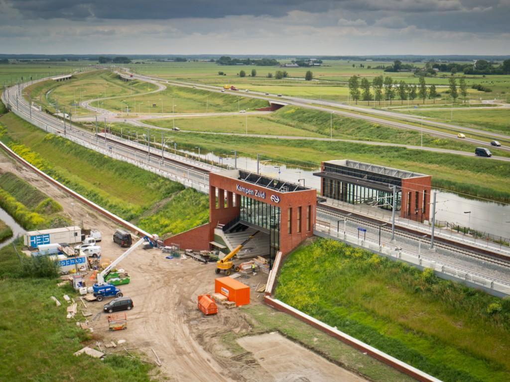 NS Station Kampen-Zuid in aanbouw